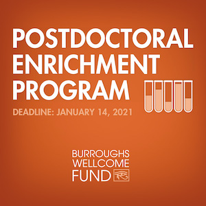 Burroughs Wellcome Fund: Postdoctoral Enrichment Program 2020 announcement