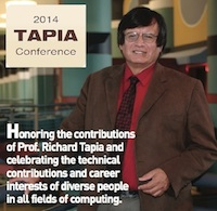 2014 Tapia conference banner with Richard Tapia pictured